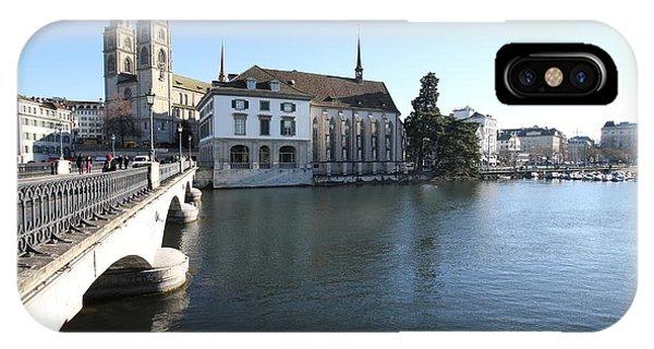 Grossmunster, Wasserkirche And Munsterbrucke - Zurich IPhone Case