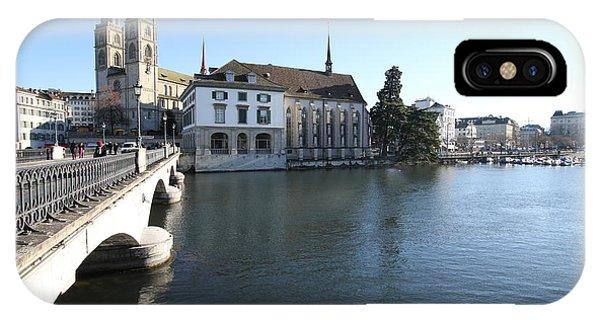 Travelpics iPhone Case - Grossmunster, Wasserkirche And Munsterbrucke - Zurich by Travel Pics