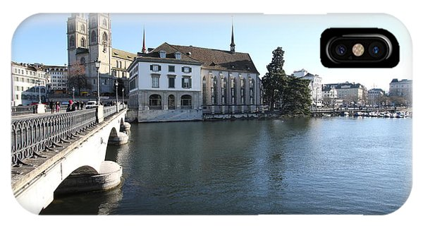 Grossmunster, Wasserkirche And Munsterbrucke - Zurich IPhone Case