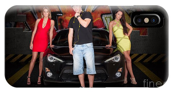 Endorsement iPhone Case - Group Of Young People Beside Black Modern Car by Jorgo Photography - Wall Art Gallery