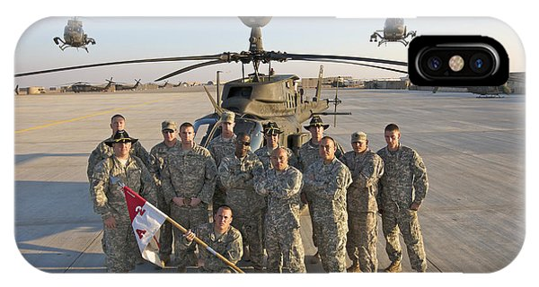 Helicopter iPhone Case - Group Photo Of U.s. Soldiers At Cob by Terry Moore