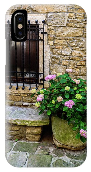 Groznjan Istrian Hill Town Stonework And Flowerpot - Istria, Croatia IPhone Case