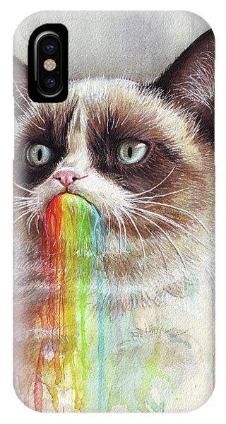 Cat iPhone X Case - Grumpy Cat Tastes The Rainbow by Olga Shvartsur