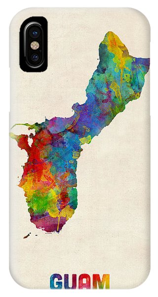 Print iPhone Case - Guam Watercolor Map by Michael Tompsett
