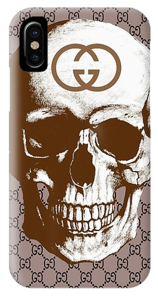 Luxury iPhone Case - Gucci Poster Gucci Print Gucci Skull Brown Print by Del Art