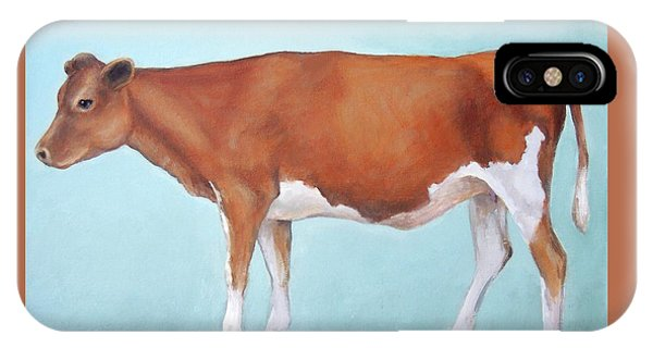 Cow iPhone X / XS Case - Guernsey Cow Standing Light Teal Background by Dottie Dracos