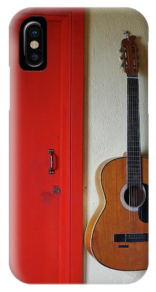 Guitar And Red Door IPhone Case