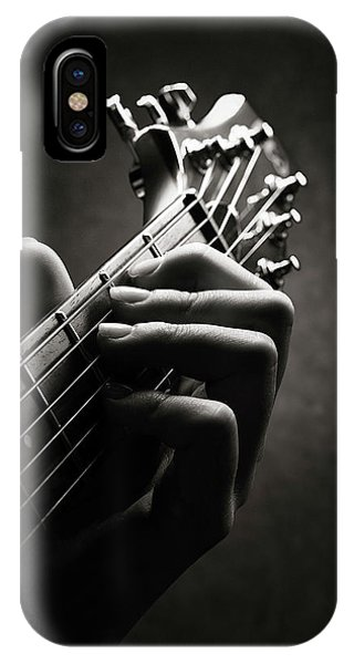 Monotone iPhone Case - Guitarist Hand Close-up by Johan Swanepoel