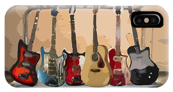 Musical iPhone Case - Guitars On A Rack by Arline Wagner