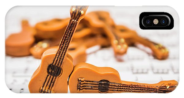 Tango iPhone Case - Guitars On Musical Notes Sheet by Jorgo Photography - Wall Art Gallery