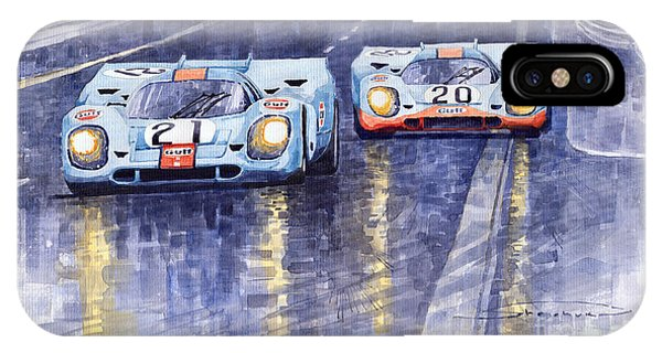 Car iPhone X Case - Gulf-porsche 917 K Spa Francorchamps 1970 by Yuriy Shevchuk