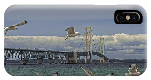 Gulls Flying By The Bridge At The Straits Of Mackinac IPhone Case