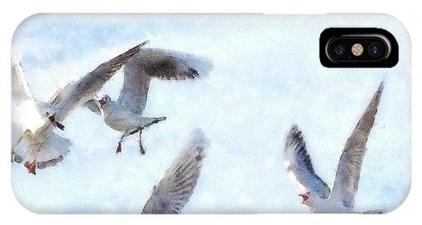 Gulls In Flight Watercolor IPhone Case
