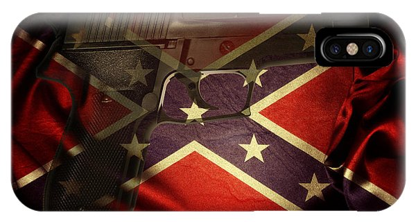 Rights iPhone Case - Gun And Confederate Flag by Les Cunliffe