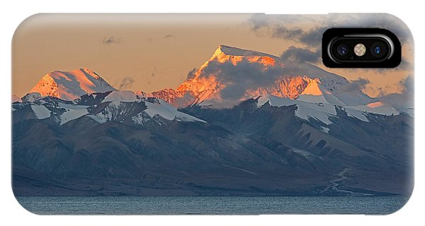 IPhone Case featuring the photograph Gurla Mandhata At Dawn, Hor, 2007 by Hitendra SINKAR