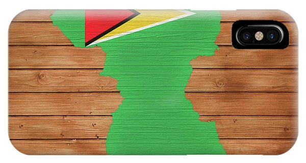 Traveler iPhone Case - Guyana Rustic Map On Wood by Dan Sproul