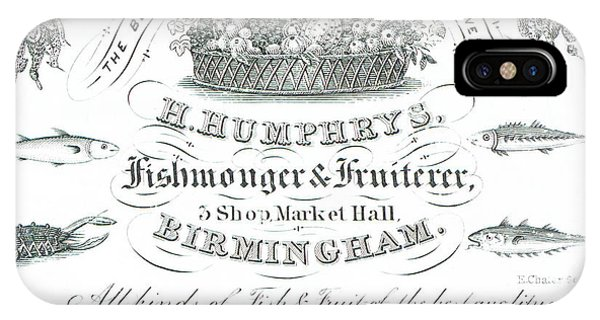 H Humphrys, Fishmonger And Fruiterer, Trade Card  IPhone Case