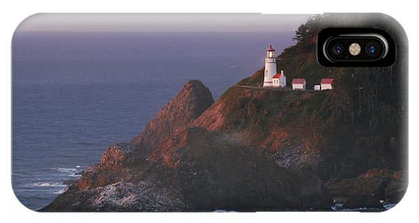 Haceta Head Lighthouse At Sunset IPhone Case
