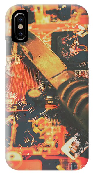 Connections iPhone Case - Hacking Knife On Circuit Board by Jorgo Photography - Wall Art Gallery