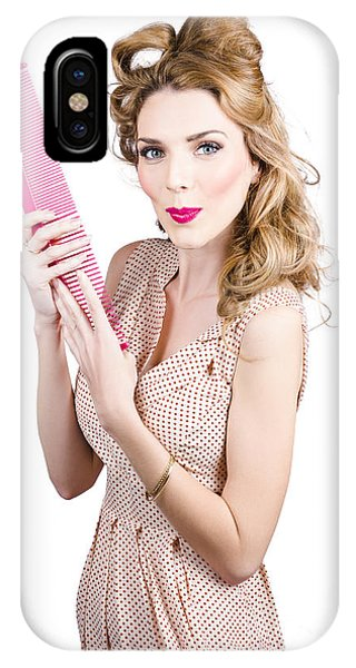 Hair Style Model. Pinup Girl With Large Pink Comb IPhone Case
