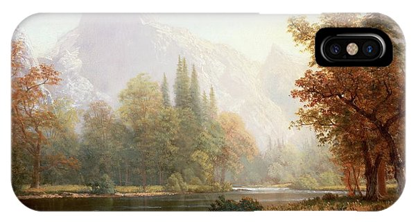 River iPhone Case - Half Dome Yosemite by Albert Bierstadt