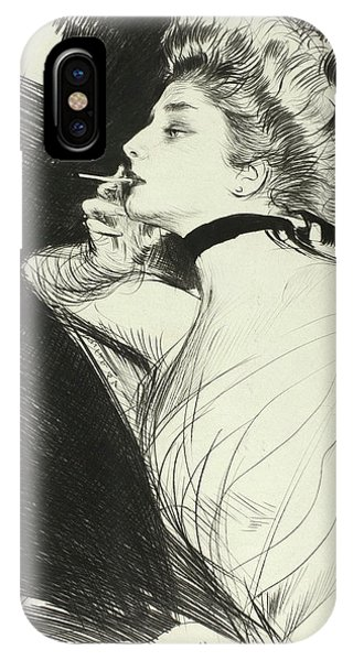 Half Length Portrait Of A Seated Woman, Smoking A Cigarette, Facing Left IPhone Case