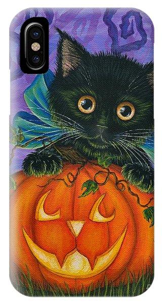 Halloween Black Kitty - Cat And Jackolantern IPhone Case