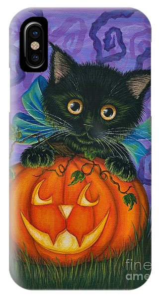 Halloween Black Kitty - Cat And Jackolantern IPhone Case
