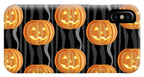 Fall Colors iPhone Case - Halloween Pattern by Veronica Kusjen