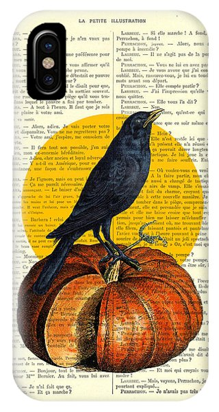 Fruit iPhone Case - Halloween Pumpkin And Crow Decoration by Madame Memento