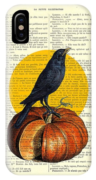 Crow iPhone Case - Halloween Pumpkin And Crow Decoration by Madame Memento
