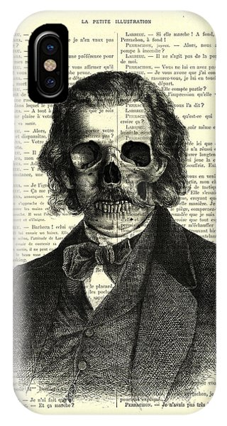 Or iPhone Case - Halloween Skull Portrait In Black And White by Madame Memento