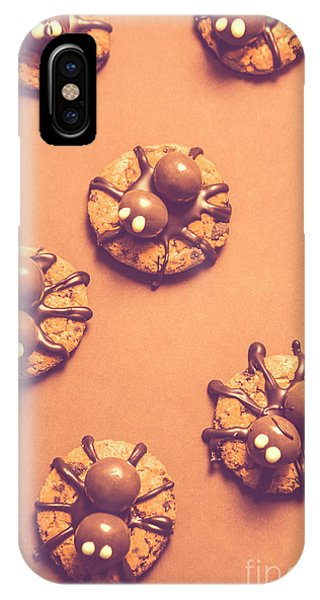 Or iPhone Case - Halloween Spider Cookies On Brown Background by Jorgo Photography - Wall Art Gallery