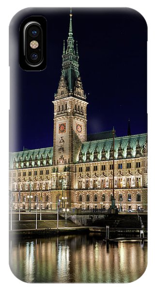 Hamburg Town Hall At Night IPhone Case