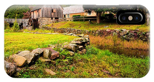 New England Barn iPhone Case - Hammond Gristmill Rhode Island - Colored Version by Lourry Legarde