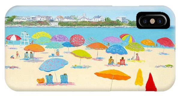 Beach Chair iPhone Case - Hampton Beach Umbrellas by Jan Matson