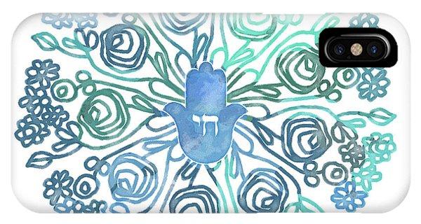 Watercolor iPhone Case - Hamsa Mandala 1- Art By Linda Woods by Linda Woods