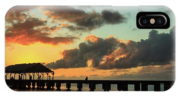 Hanalei Pier Sunset Panorama IPhone Case