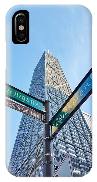 Hancock Building With Street Signs IPhone Case