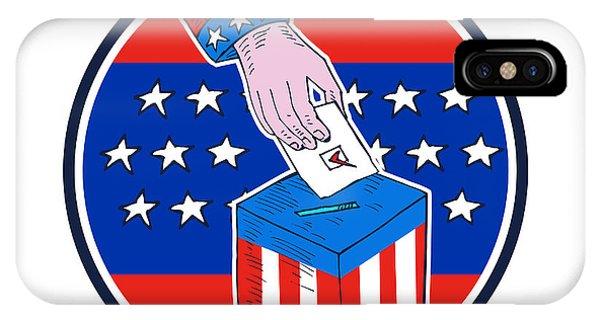 Election iPhone Case - Hand Ballot Box Circle Etching by Aloysius Patrimonio
