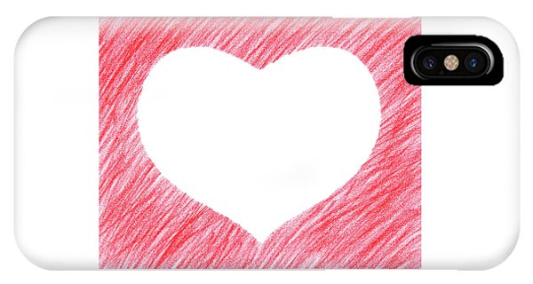 Design iPhone Case - Hand-drawn Red Heart Shape by GoodMood Art