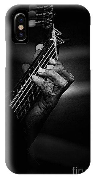 Hand Of A Guitarist In Monochrome IPhone Case