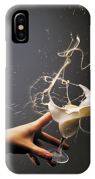 Hand With The Flying Glass Of Liqueur IPhone Case