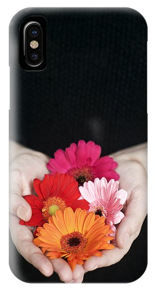 Hands Holding Colorful Gerbera Daisies  IPhone Case