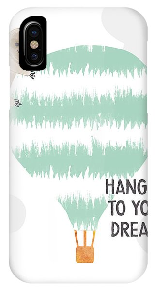 Hot Air Balloons iPhone Case - Hang On To Your Dreams Sloth- Art By Linda Woods by Linda Woods