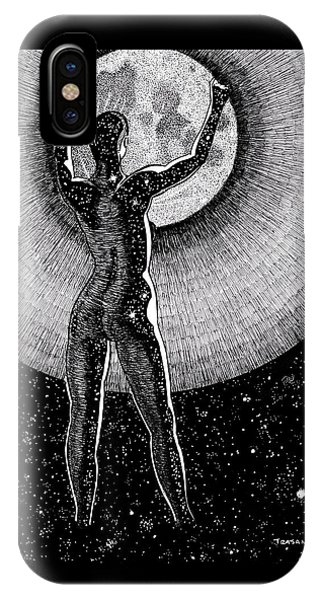 Pen And Ink Drawings For Sale iPhone Case - Hang The Moon by Trajan Pen and Ink
