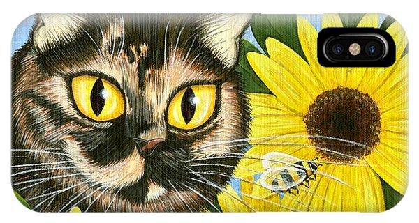 Hannah Tortoiseshell Cat Sunflowers IPhone Case