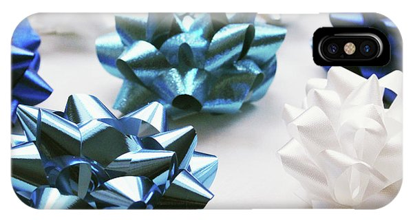 Blue And White iPhone Case - Hanukkah Bows- Photography By Linda Woods by Linda Woods