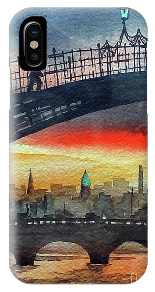 Hapenny Bridge Sunset, Dublin...27apr18 IPhone Case