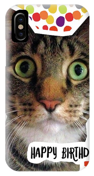Celebration iPhone Case - Happy Birthday Cat- Art By Linda Woods by Linda Woods